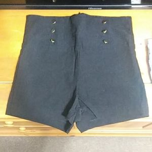 Black high waisted sailor shorts